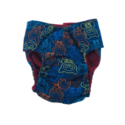 neon skeleton figures on blue diaper - back