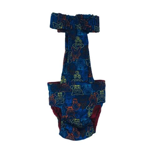 neon skeleton figures on blue diaper overall - back