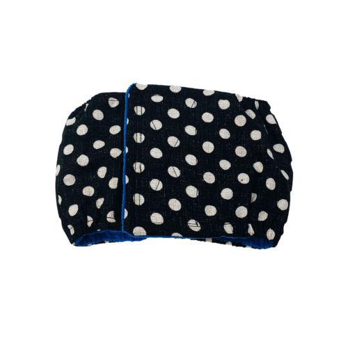 white polka dot on vintage black belly band
