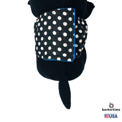 white polka dot on vintage black belly band - model 2