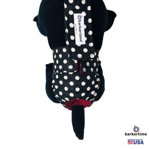 white polka dot on vintage black diaper overall - model 2