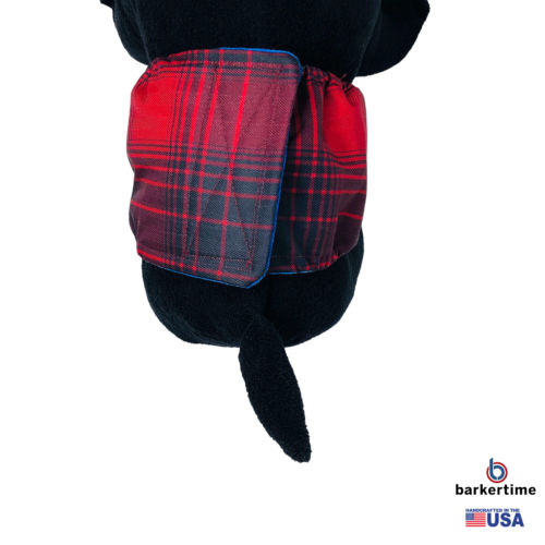 red plaid waterproof belly band - model 2