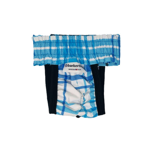 blue plaid waterproof diaper pull-up - back