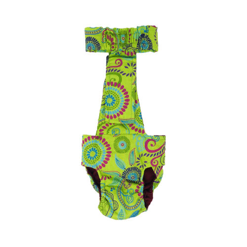 lime green flowers diaper overall - back