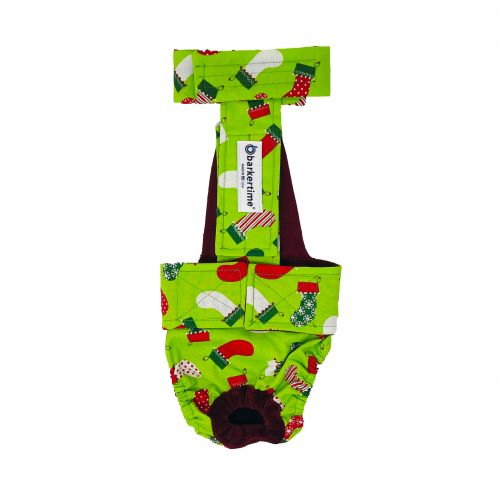 christmas stockings on green diaper overall