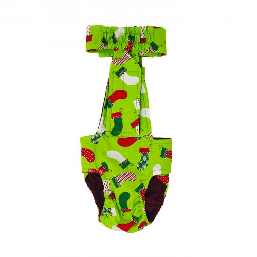 christmas stockings on green diaper overall - back