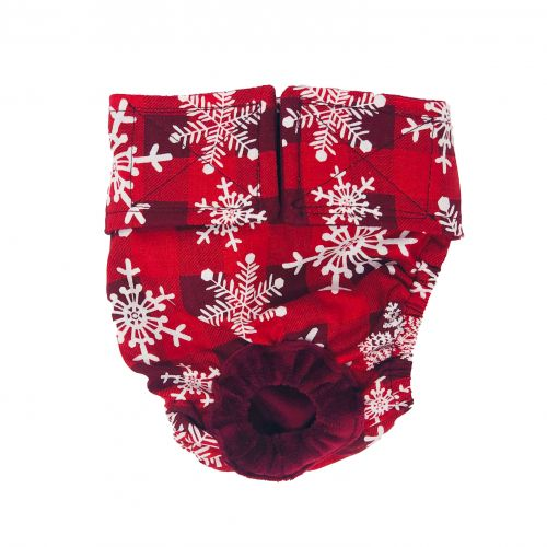 snowflakes on buffalo plaid diaper