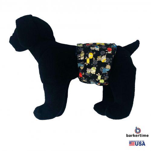 funky dog on black belly band - model 1