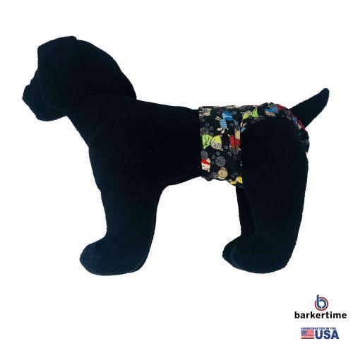 funky dog on black diaper - model 1