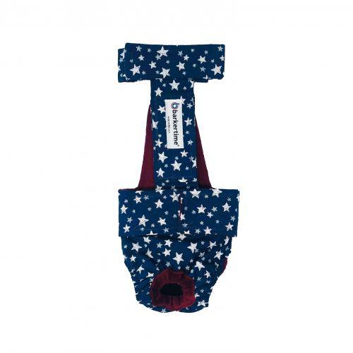 white stars on navy blue diaper overall