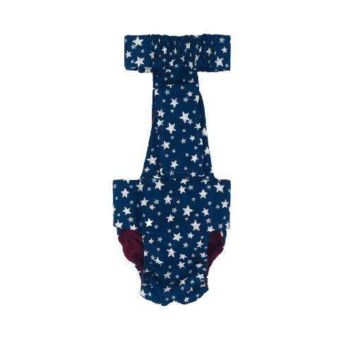 white stars on navy blue diaper overall - back