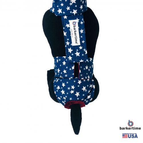 white stars on navy blue diaper overall - model 2