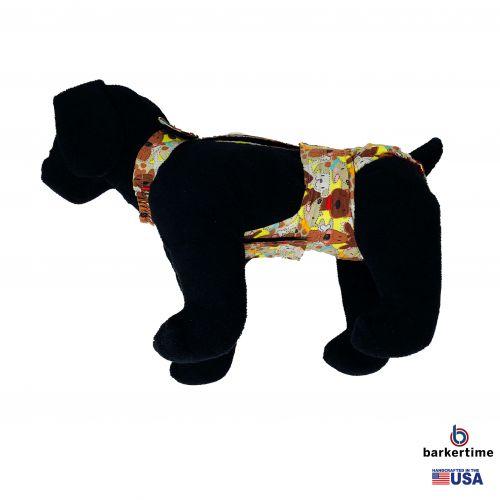 brown doggie with bones diaper overall - model 1