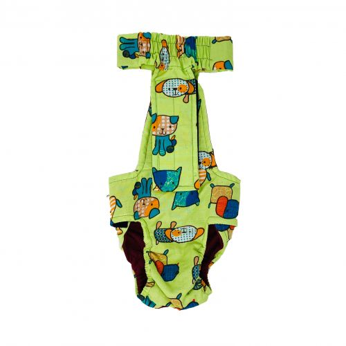 funky dog on green diaper overall - back