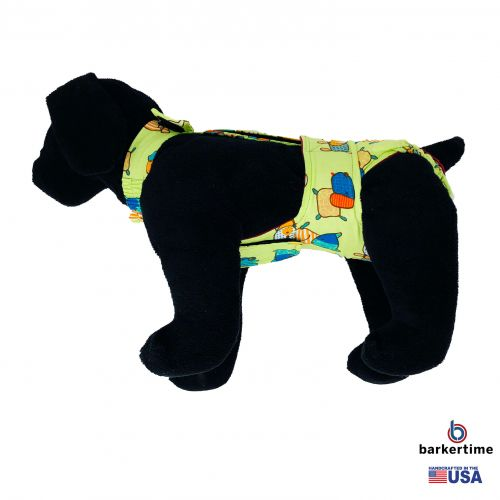 funky dog on green diaper overall - model 1
