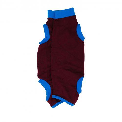 merlot red with blue cuff peejama short sleeve