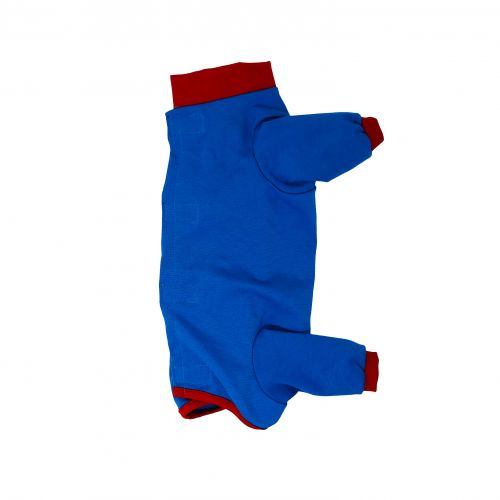 royal blue with red cuff peejama long sleeve