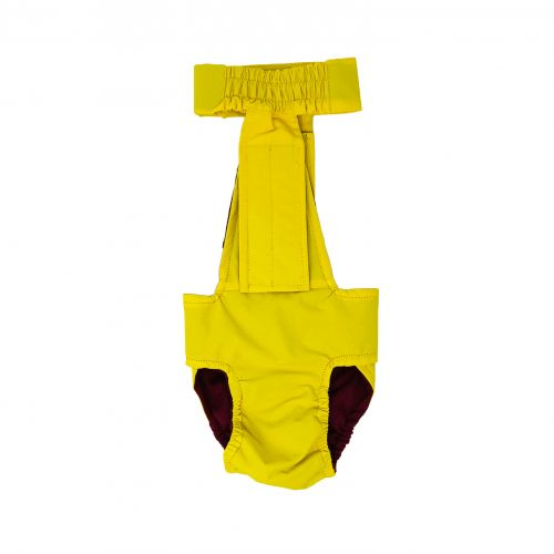 yellow waterproof diaper overall - back